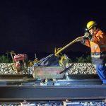 09/06/2015 , Suivi de chantier à Hallencourt.Remplacement de rails par le BOA.